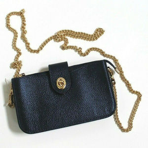 Coach Metallic Leather Turnlock Chained Crossbody